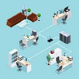 Office Computer Net Isometric Illustration Royalty Free Stock Photo