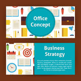 Office Concept and Business Strategy Modern Flat Style Vector Te Stock Photos
