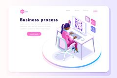 Office concept for web site banner. Office tablet concept, isometric people at office working on a tablet display, isometric workplace concept Stock Images