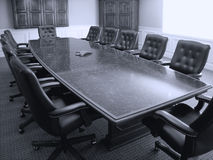 Office Conference Room. Conference room table with several leather chairs stock photos