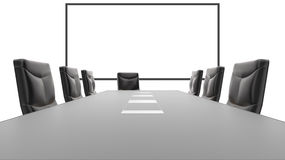 Office Conference Table and White Board Stock Photos