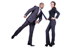 Office conflict between man and woman isolated. Office conflict between men and women isolated on white Stock Photo