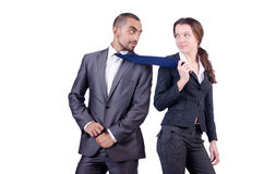 Office conflict between man and woman isolated. Office conflict between men and women isolated on white Royalty Free Stock Photos