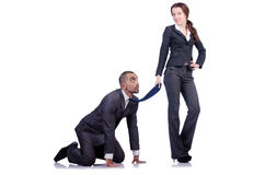 Office conflict between man and woman isolated Stock Images