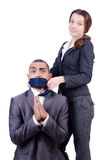 Office conflict between man and woman isolated Royalty Free Stock Photo