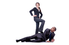 Office conflict between man and woman isolated Royalty Free Stock Photos