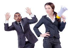 Office conflict between man and woman isolated Royalty Free Stock Photography