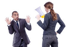 Office conflict between man and woman isolated Royalty Free Stock Images