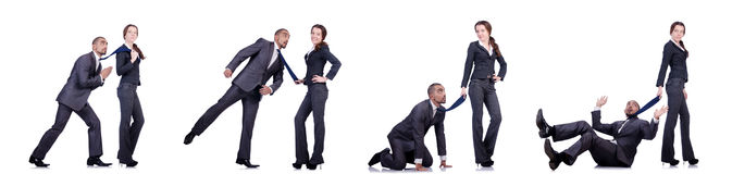 The office conflict between man and woman isolated on white Royalty Free Stock Photo