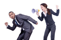 Office conflict between man and woman. Office conflict between men and women isolated on white Stock Image