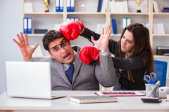 The office conflict between man and woman Royalty Free Stock Photos