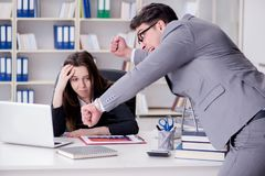 The office conflict between man and woman Stock Images