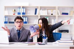 The office conflict between man and woman Stock Photo