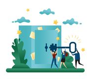 Office Cooperative Teamwork. Find a Solution to the Problem. Go to the Vault Door With a Key. Business Concept Vector Illustration. Office Cooperative Teamwork Royalty Free Stock Image