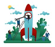 Office Cooperative Teamwork. People Build Rocket of Success. Business Startup Concept Vector Illustration stock illustration