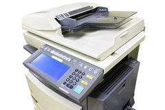 Office copier. Modern photocopier with digital display isolated on white background Royalty Free Stock Photography