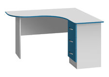 Office corner computer desk with rounded table top and bedside table with three drawers Stock Photo