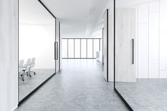 Office corridor with gray wood and glass Stock Photography