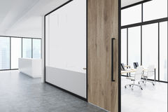 Office corridor with wood and glass, reception Stock Photography