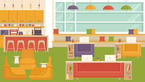 Office Coworking Space. Office workplace with table, bookcase, windows. Flat colorful illustration Royalty Free Stock Photos