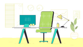 Office Coworking Space. Office workplace with table, bookcase, windows. Flat colorful illustration Royalty Free Stock Photography