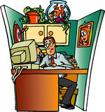Office Cubical. Man in a cluttered office cubical Stock Image