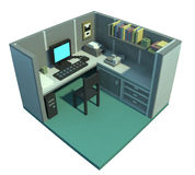 Office cubicle 3d art. 3d rendered scene of an office cubicle with computer on the table, phone, shelf and files. It's day scene Stock Images