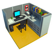 Office cubicle made of toy blocks. 3d art of office cubicle made of colorful toy blocks Royalty Free Stock Photo