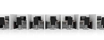 Office cubicles with equipment Stock Photography