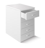 Office cupboard. Open drawer cabinet  on white Stock Images