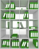 Office cupboard with different folders Stock Photo