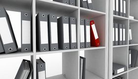 Office cupboard with different folders. 3d image Stock Image