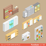 Office cupboard folder shelf flat vector isometric furniture Stock Image