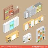 Office cupboard folder shelf flat vector isometric furniture Stock Image