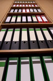 Office cupboard with folders, frog's perspective Stock Photo
