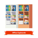 Office cupboards full of ring binders and papers Royalty Free Stock Photos