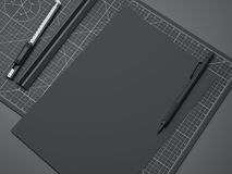 Office cutting board with ruler, pencil and black paper. 3d rendering. Office cutting board with ruler, pencil, knife and black paper. 3d rendering Royalty Free Stock Photography