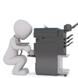 Office 3D man using copier. Faceless 3D man with pile of papers crouching near black copy machine, render isolated on white background Stock Photography