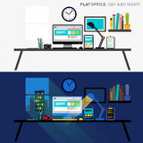 Office Day and Night Royalty Free Stock Photography