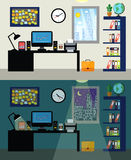 Office day and night. Empty office workplace day and night with work table computer and bookshelf vector illustration Royalty Free Stock Photo