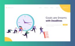 Office Deadline Business Concept Landing Page. Time Management on the Road to Success. Group of Running Businessmen to Achieve Results Website or Web Page royalty free illustration