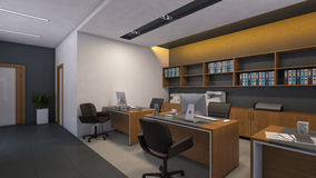 Office Design with Wood Wall Royalty Free Stock Photography