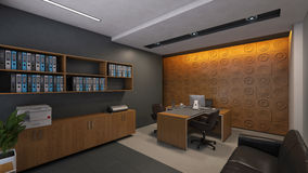 Office Design with Wood Wall Royalty Free Stock Image