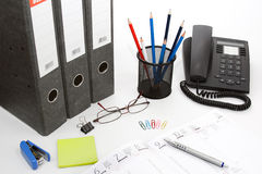 Office desk. With different items royalty free stock photos