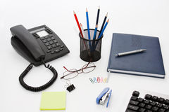 Office desk. With items usual in business life stock images