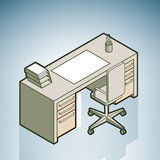 Office Desk. (part of the Modern Furniture Isometric 3D Icons Set Royalty Free Stock Photo