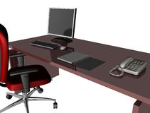 Office desk. 3D office desk with red  chair Royalty Free Stock Image