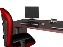 Office desk. With red chair 3d rendering Royalty Free Stock Photography