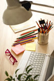 Office desk with accessories Royalty Free Stock Photos