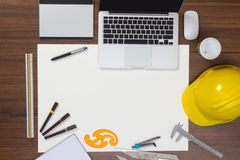 Office desk background with construction project stock photo